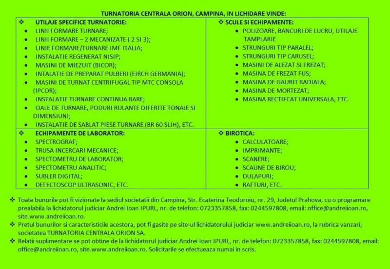 anunturi gratuite Utilaje de vanzare (turnatorie, scule, echipamente, laborator)